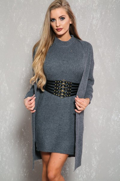 grå tröja klänning med bälte, lång caridgan