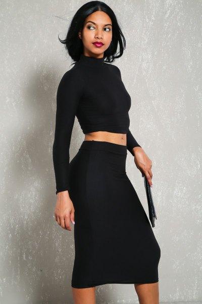 tvådelad klänning svart långärmad mock neck crop top