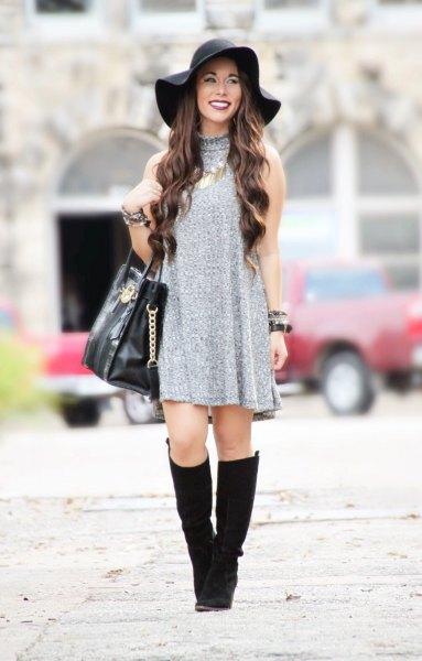 grå tröja klänning diskett hatt