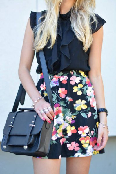hög midja blommig penna kjol