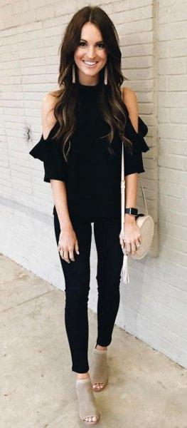 kalla axel svarta topp skinny jeans