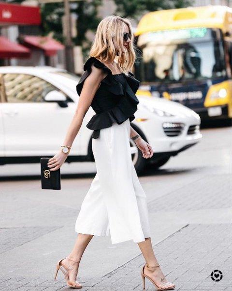 hög midja vita culottes
