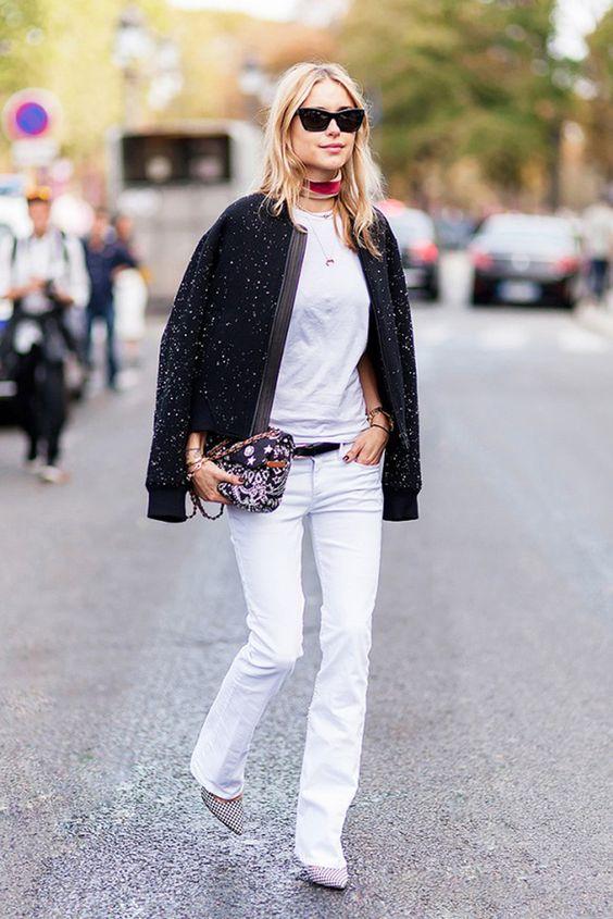 Paljett bomberjacka vita jeans