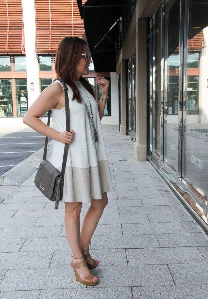vit och rodnadrosa färgblock mini-skiftklänning