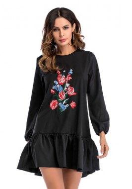 svart, broderad, casual sweatshirtklänning med blommönster