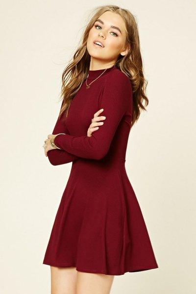 Burgundy Fit and Flare Mini-tröja klänning
