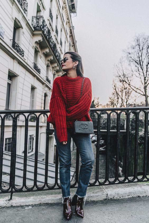 slitna jeans, röd, tjock tröja