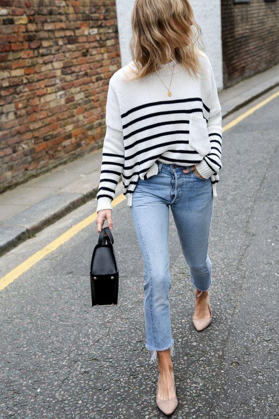 Parisiska slitna jeans