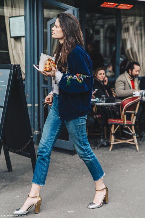 slitna jeans i sammetbotten