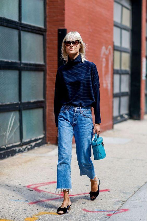 slitna jeans med tjock turtleneck