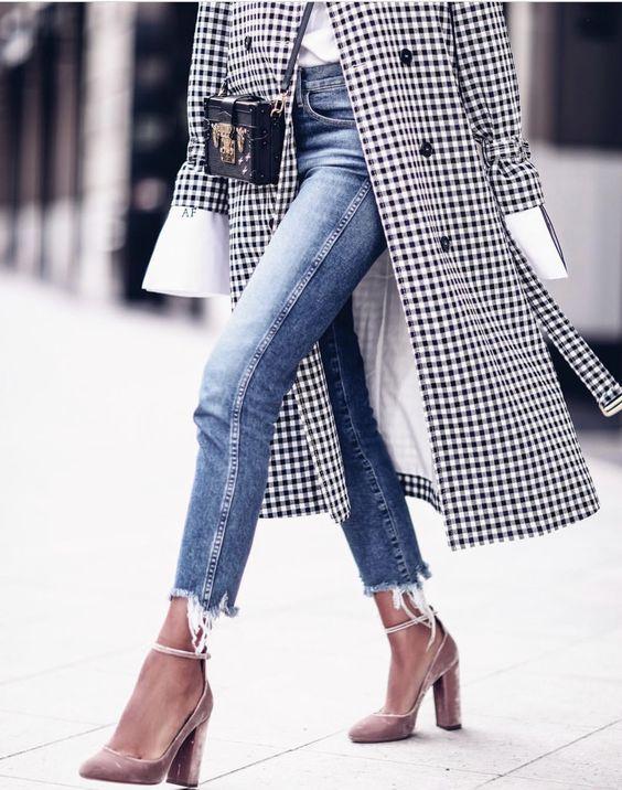 Gingham slitna jeans