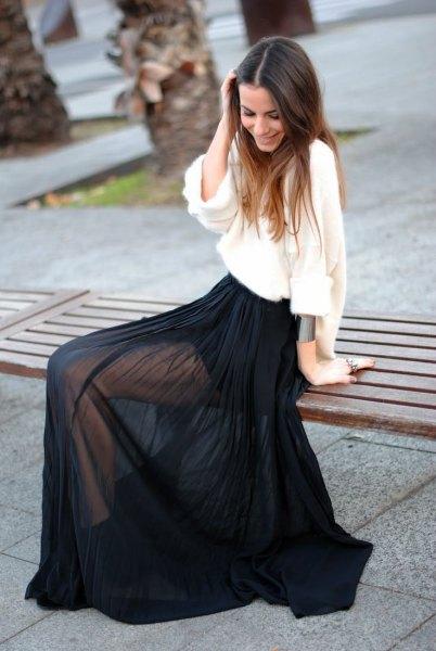 svart maxi chiffong transparent kjol vit, löst sittande blus i linne