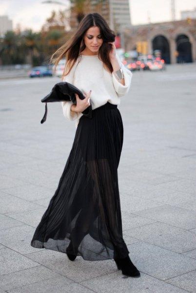 vit vidärmad tröja svart transparent kjol