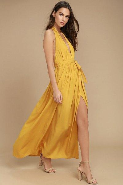 Senap Deep V-Neck Grime High Split Maxi Flared Dress