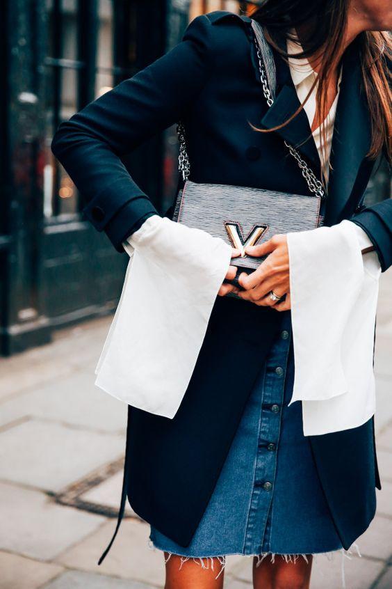 svart kappa vit skjorta denim kjol