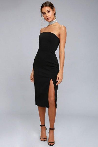axelbandslös högklackad midi svart klänning remmar klackar