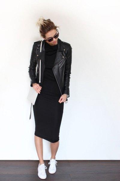 svart läderjacka midiklänning outfit