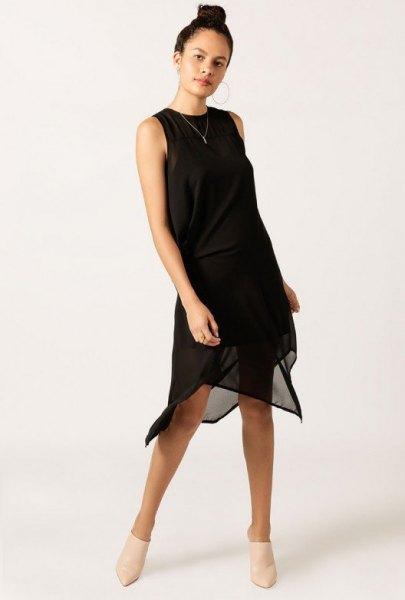 svart midiklänning chiffong transparent overlay