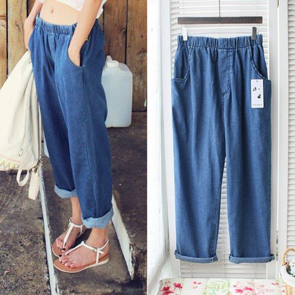 blå bred elastisk midja jeans vit topp