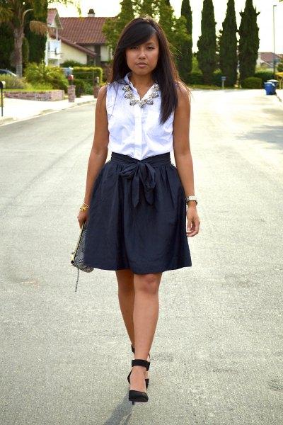 svart, elastisk, skräddarsydd minikjol