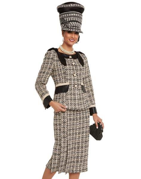 svart och ljusgul rutig tweed kyrkodräkt med matchande hatt