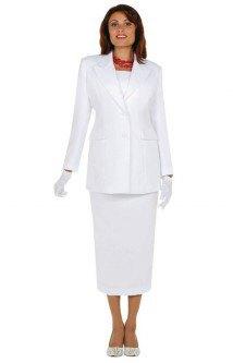 vit kappdräktjacka med medium kjol och handskar
