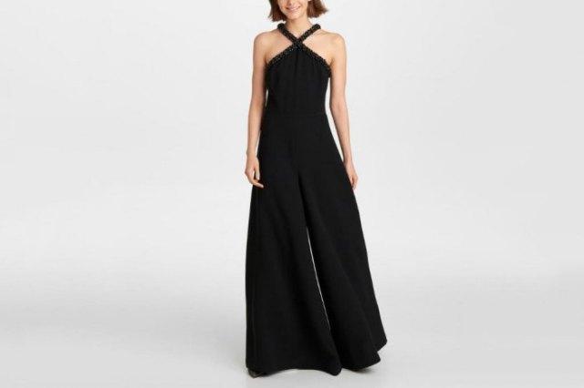 Grimma passform och flare svart formell jumpsuit