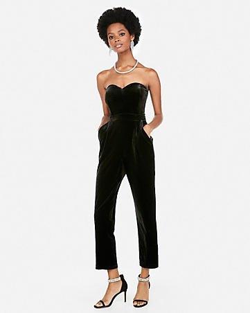 svart älskling halsband axelbandslös formell jumpsuit med klackar med öppen tå