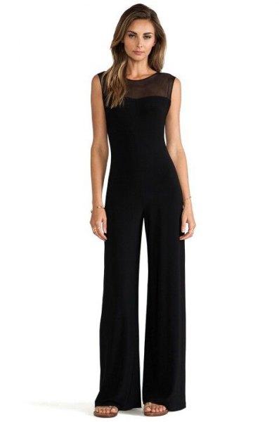 svart, halvtransparent, ärmlös, formell jumpsuit med halsringning