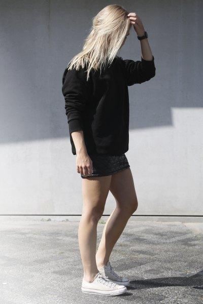 Minikjol svart tjock tröja