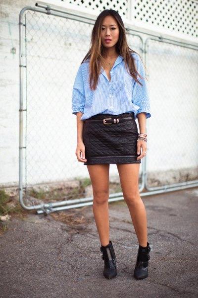 blå randig pojkvänskjorta mini quiltad skjorta