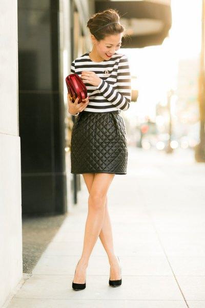 quiltad skater kjol svart och vit randig t-shirt