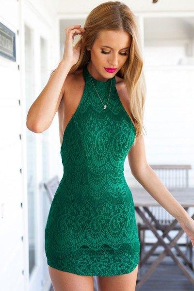 grön, figur-kramar mini halterneck spets klänning