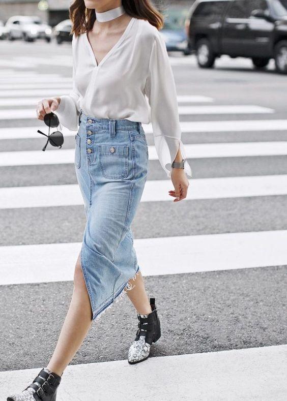 Jeans midikjol satin halsblus