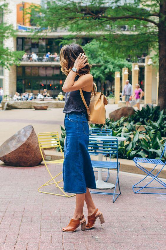Jeans midi kjol ryggsäck