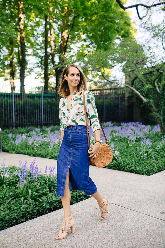 Jeans midikjol blusblus