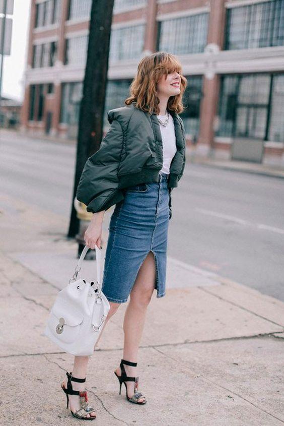 Jeans midi kjol puffer jacka