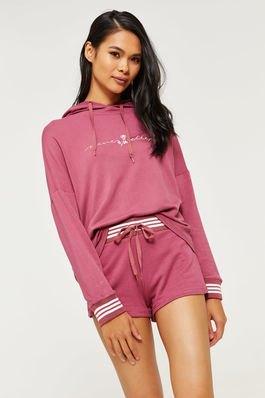 Blushing pink hoodie med matchande mini shorts