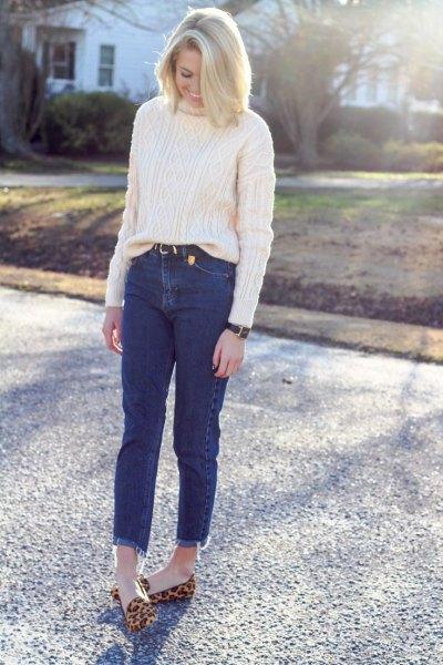 vit kabel stickad tjock tröja mamma jeans