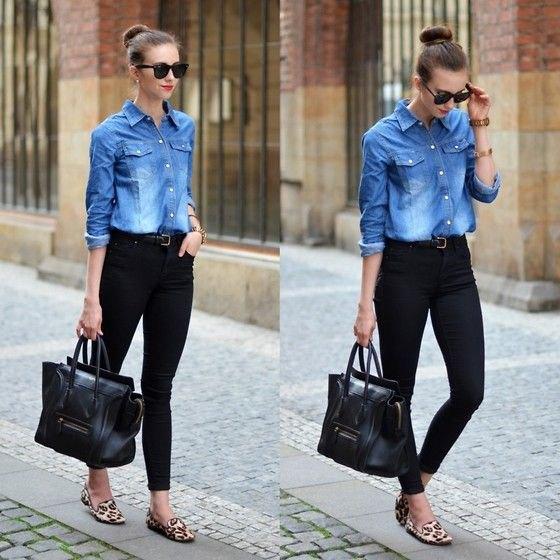 Chambray kjol svarta skinny jeans