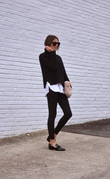 vit pojkvän skjorta svart slim fit tröja