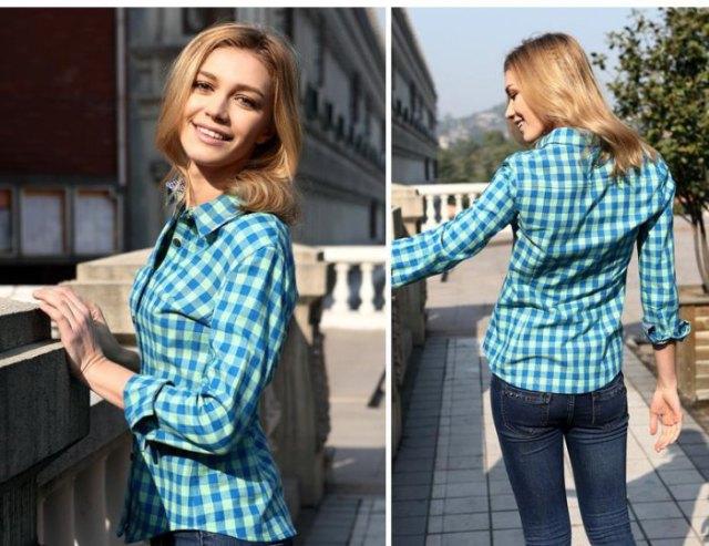 blå och vit rutig, slim fit skjorta