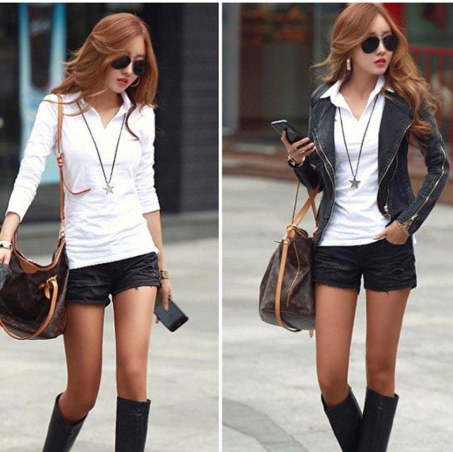 vit slim fit pikétröja svarta jeansshorts