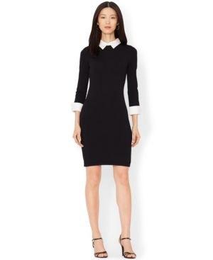 Bodycon knälång svart klänning med vit krage och klackar med öppen tå