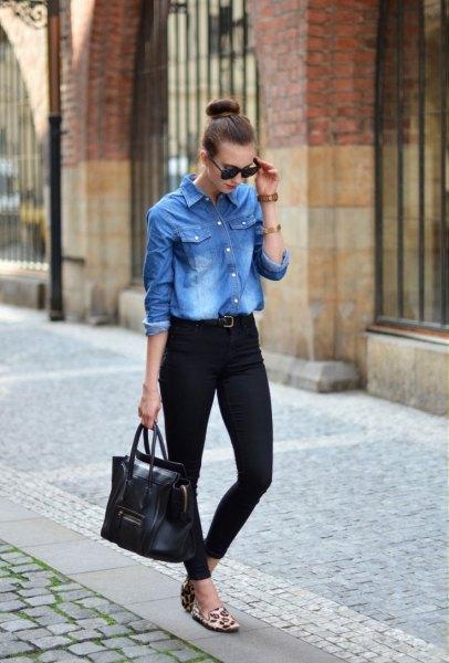 Pojkvän jeansskjorta med svarta slim fit jeans