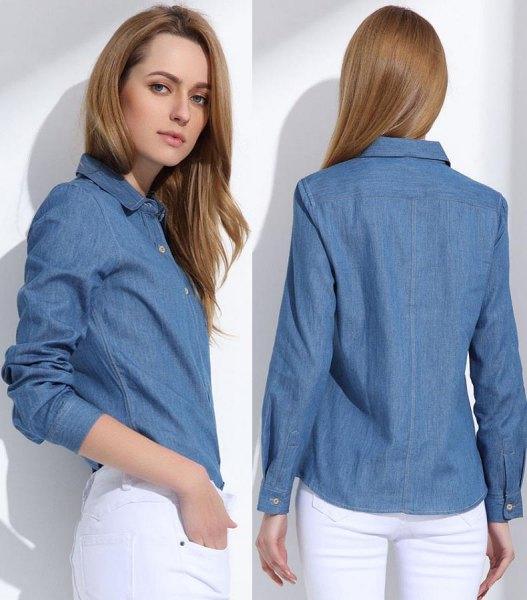 blå jeansskjorta med smal passform och vita skinny jeans