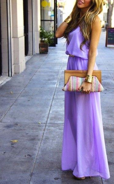 Lavendel samlade midja Maxi flared klänning