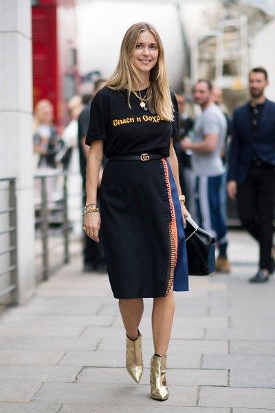 svart midja kjol med hög midja
