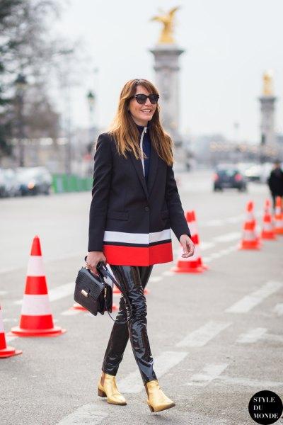 Färgblock blazer läder leggings