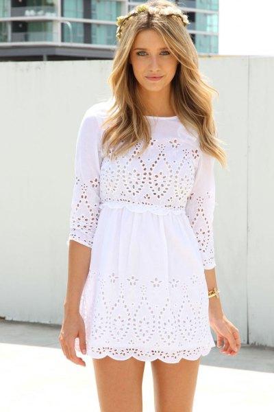 vit virkad spets trekvartärdad miniklänning i bomull